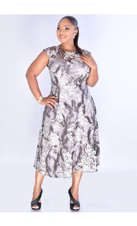 MELVA-Embroidery Leaves Dress with Sequined Sleeves