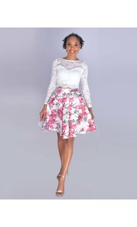 TAMSIN- Petite Long Sleeved Two-Piece Dress