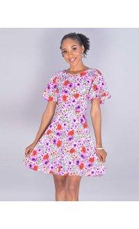 NAKIA- Petite Floral Ruffle Sleeve Flare Dress