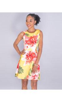 UHURA- Petite Sleeveless Floral Flare Dress