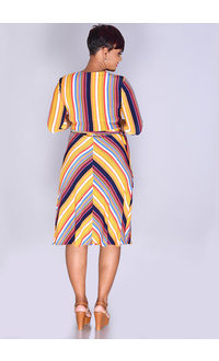 MLLE Gabrielle ILLINCA- Striped Crossover Top Dress with 3/4 Sleeves