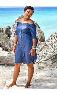 MLLE Gabrielle WYLDA- Elastic Off Shoulder Short Sleeve Dress