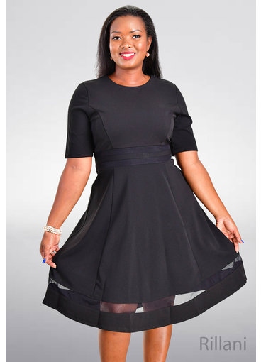 RILLANI- Fit and Flare Full Sleeve Dress