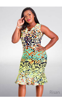 RISAN- Printed Dress with Bars