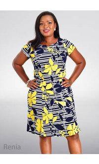 RENIA- Printed Cap Sleeve Dress