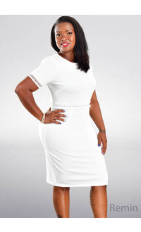 REMIN- Pearl Accent Short Sleeve Dress