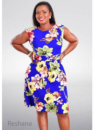 RESHANA- Printed Fit and Flare Dress