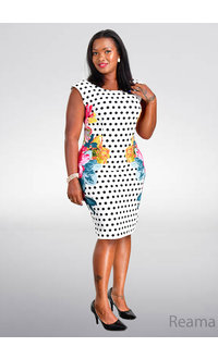 REAMA- Print Mix Sheath Dress