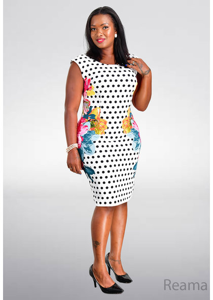 REAMA- Print Mix Sheath Dress