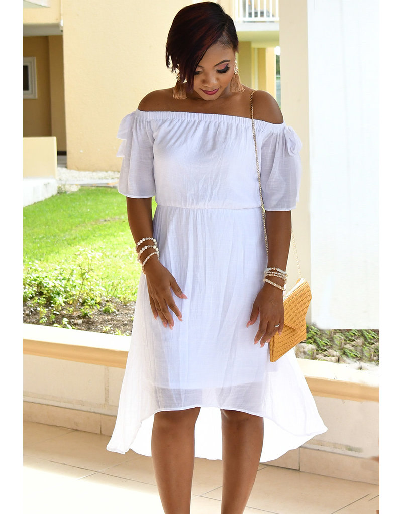 GERILYN- Off The Shoulder Hi-Lo Dress