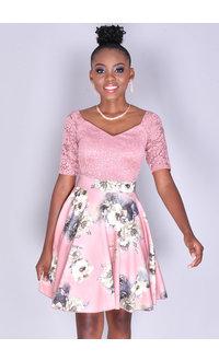 UDELIZA- Lace & Floral Patterned Dress