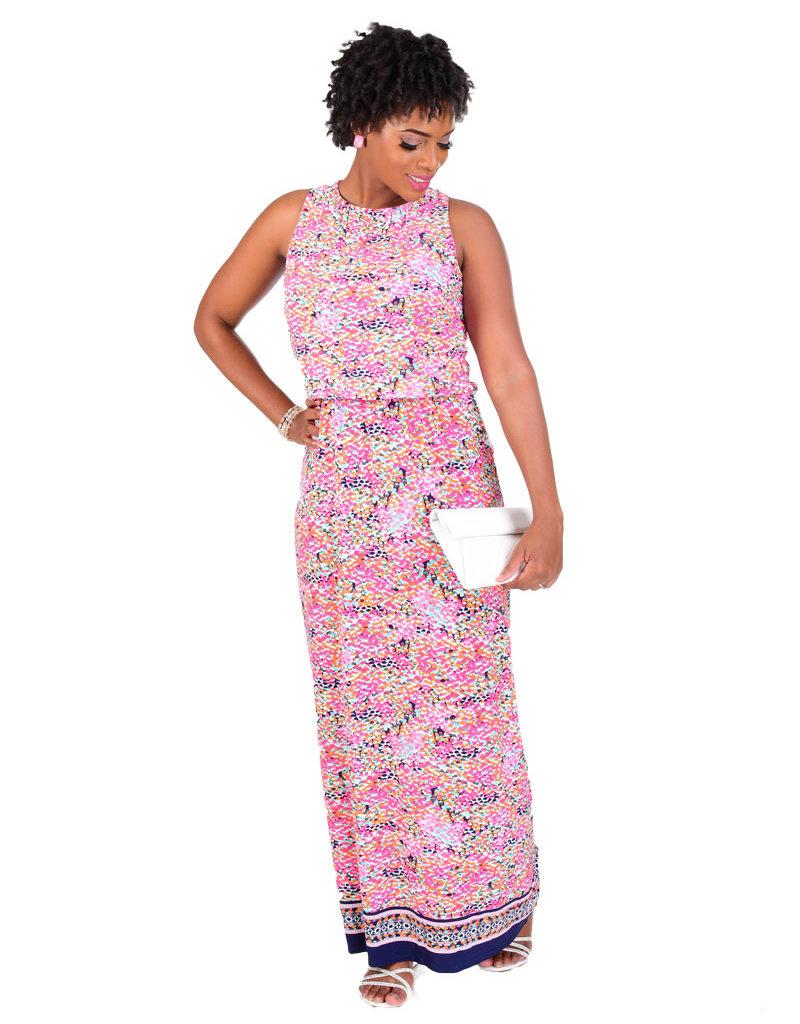 Nine West IESHA-Printed Maxi Dress with String @ Back
