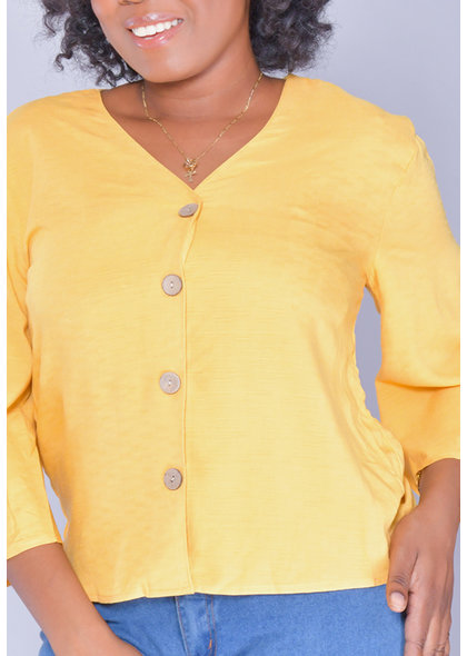 Unique Spectrum GAIL- V-Neck Top with Draw Sleeves
