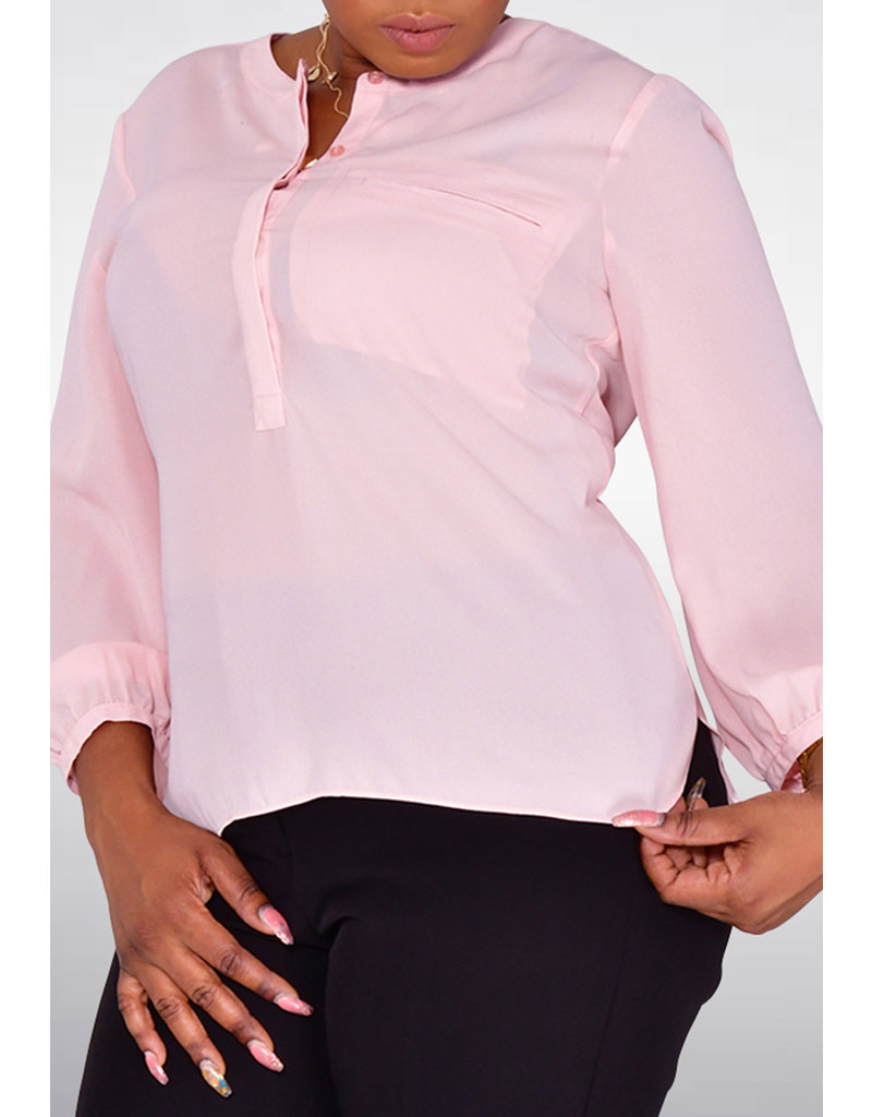 Jessica Rose VALENTE- Round Neck Top with Buttons & Faux Pocket