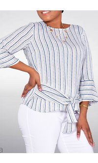 VILDA- 3/4 Trumpet Sleeve Stripe Top