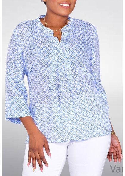 Counterparts VARYA- Pattern V-Neck 3/4 Sleeve Top