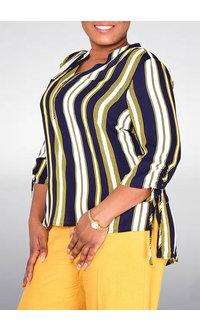 Jessica Rose VALLO- 3/4 Sleeve Stripe Top