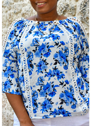 Studio West VALOUR- Floral Print Trumpet Sleeve Top