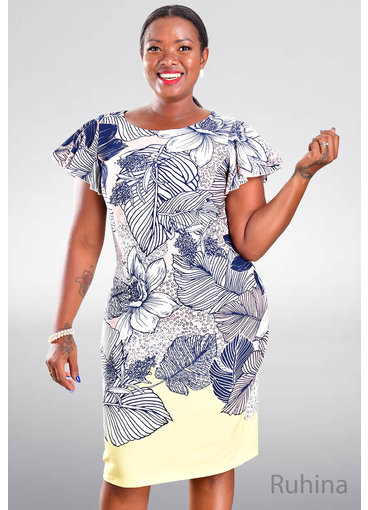RUHINA- Printed Flutter Sleeve Dress