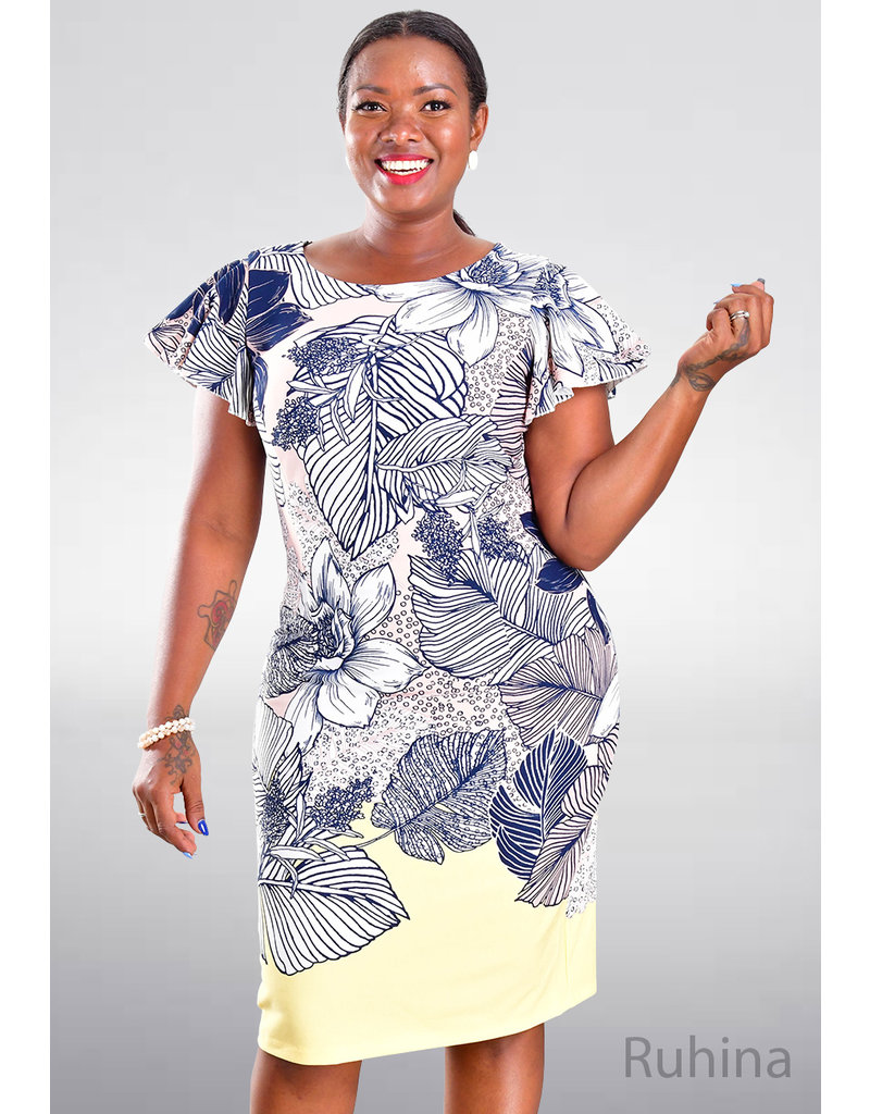 RUHINA- Printed Flutter Sleeve Dress