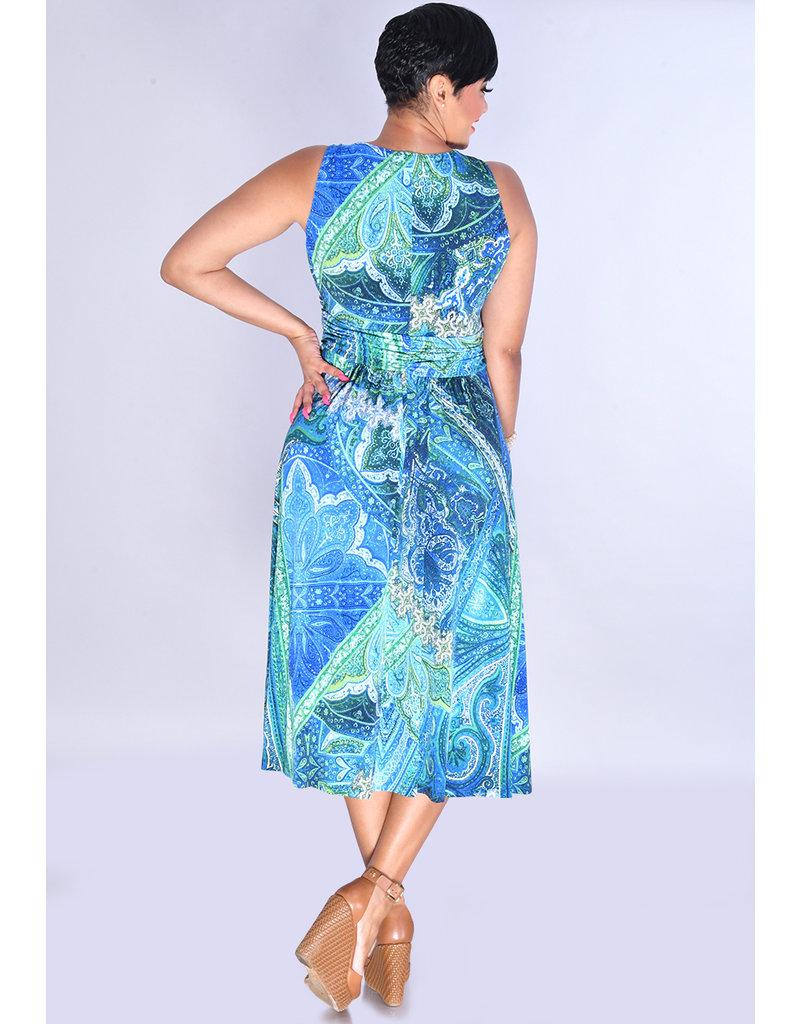 YACHU- Printed Crossover Broad Strap Dress