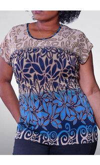 ACE Fashions VEMANDA- Printed Cap Sleeve Top with Elastic