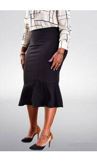 JEMMA Solid Crepe Skirt with Frill Bottom