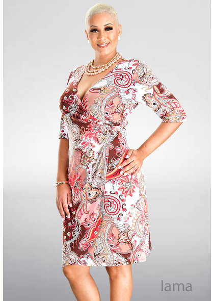 IAMA-Printed Faux Wrap Dress