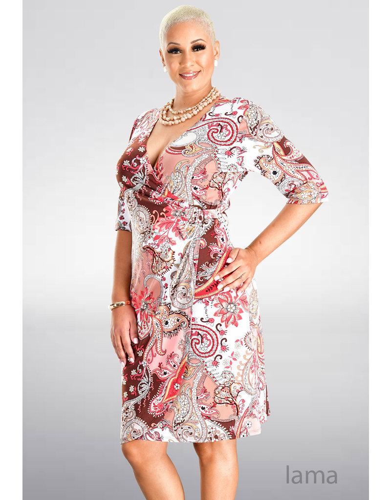 IAMA-Printed Faux Wrap Dress