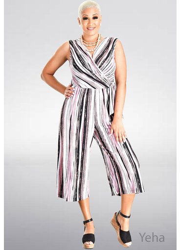 YEHA- Lap-Front Stripped Jumpsuit