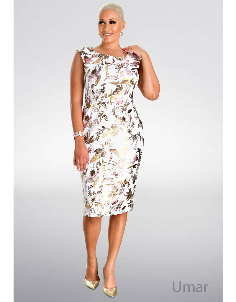 UMAR- Foil Print Sheath Dress