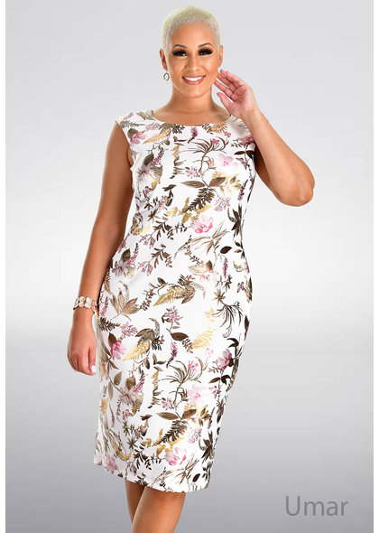 UMAR- Foil Print Sheath Dress