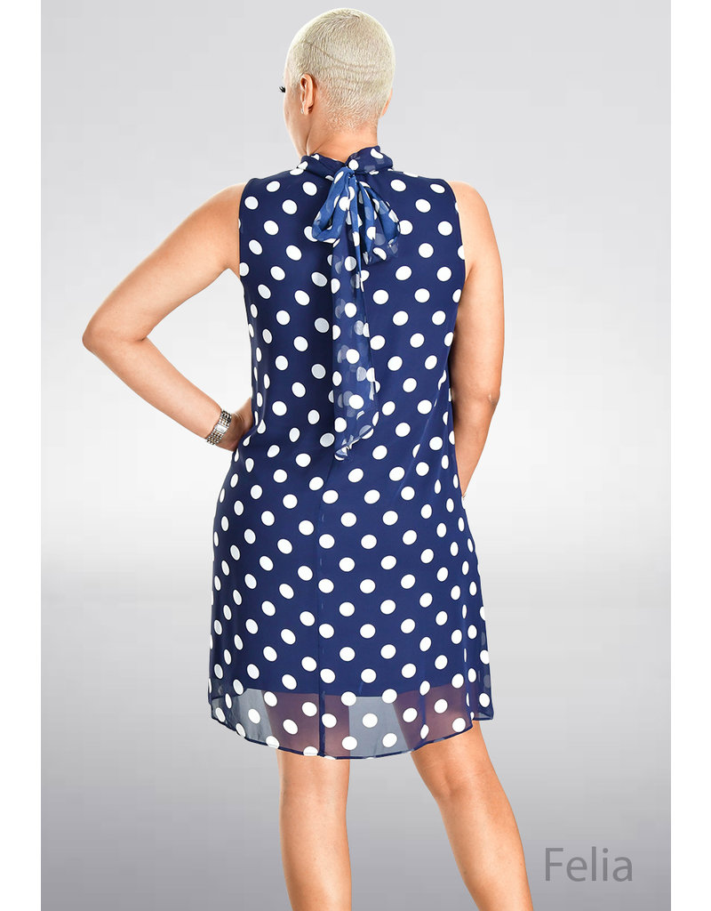 FELIA- Polka Dot Mock Neck Shift Dress