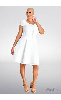 MISHA- Fit and Flare Cap Sleeve Dress with Lines