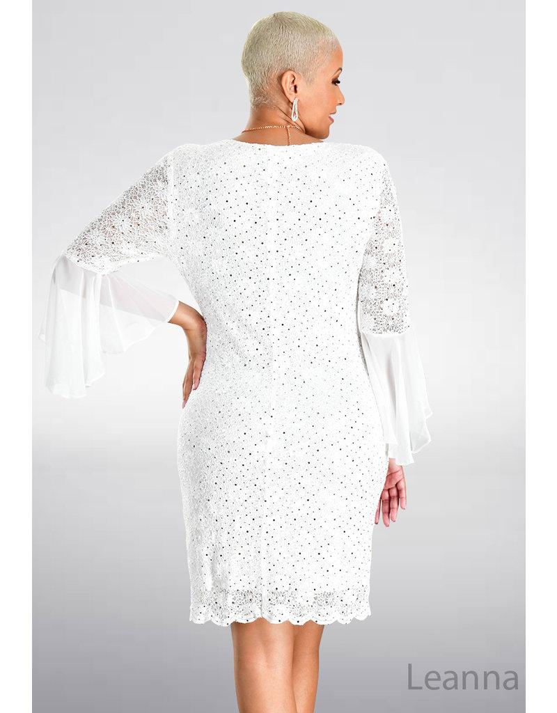 LEANNA- Lace Three Quarter Sleeve Dress