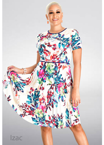 MAGGY  LONDON IZAC- Printed Fit and Flare Pleated Dress