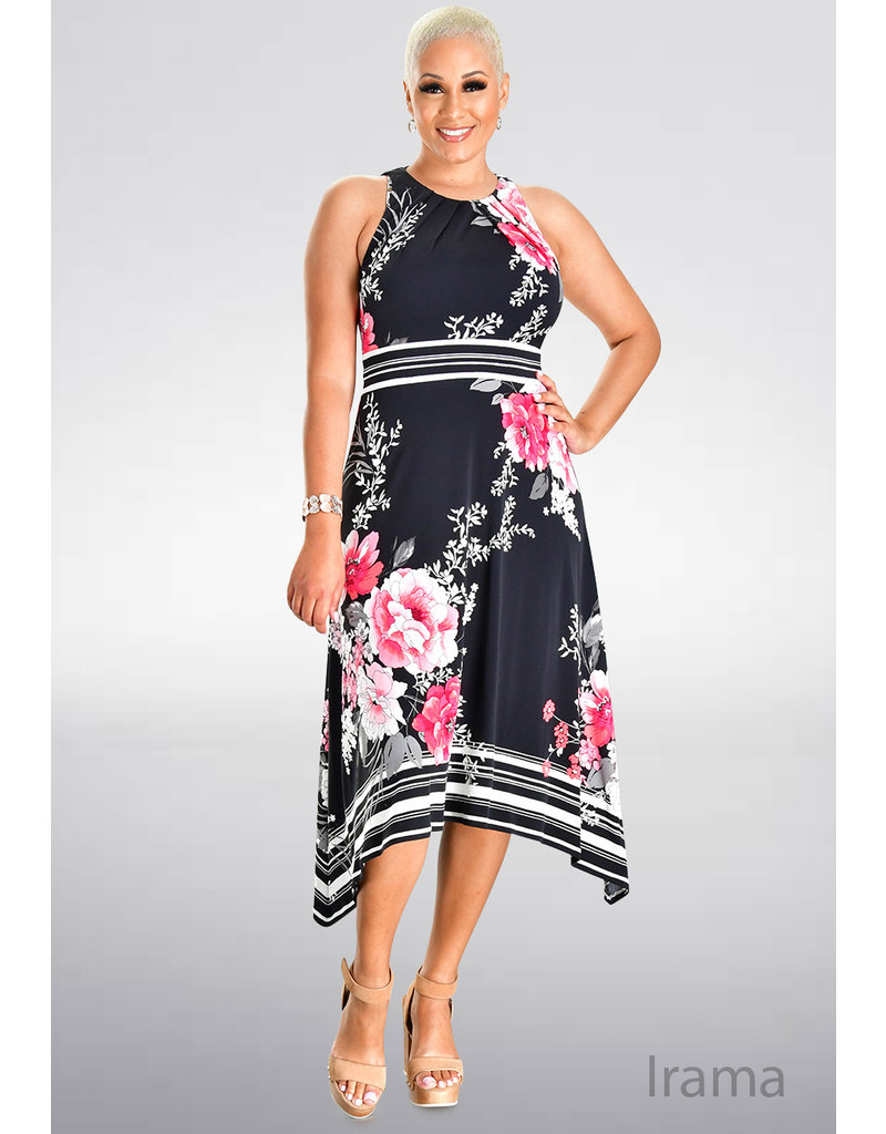 IRAMA- Printed Fit and Flare Dress