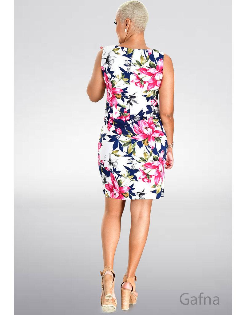 GAFNA- Printed Sheath Armhole Dress