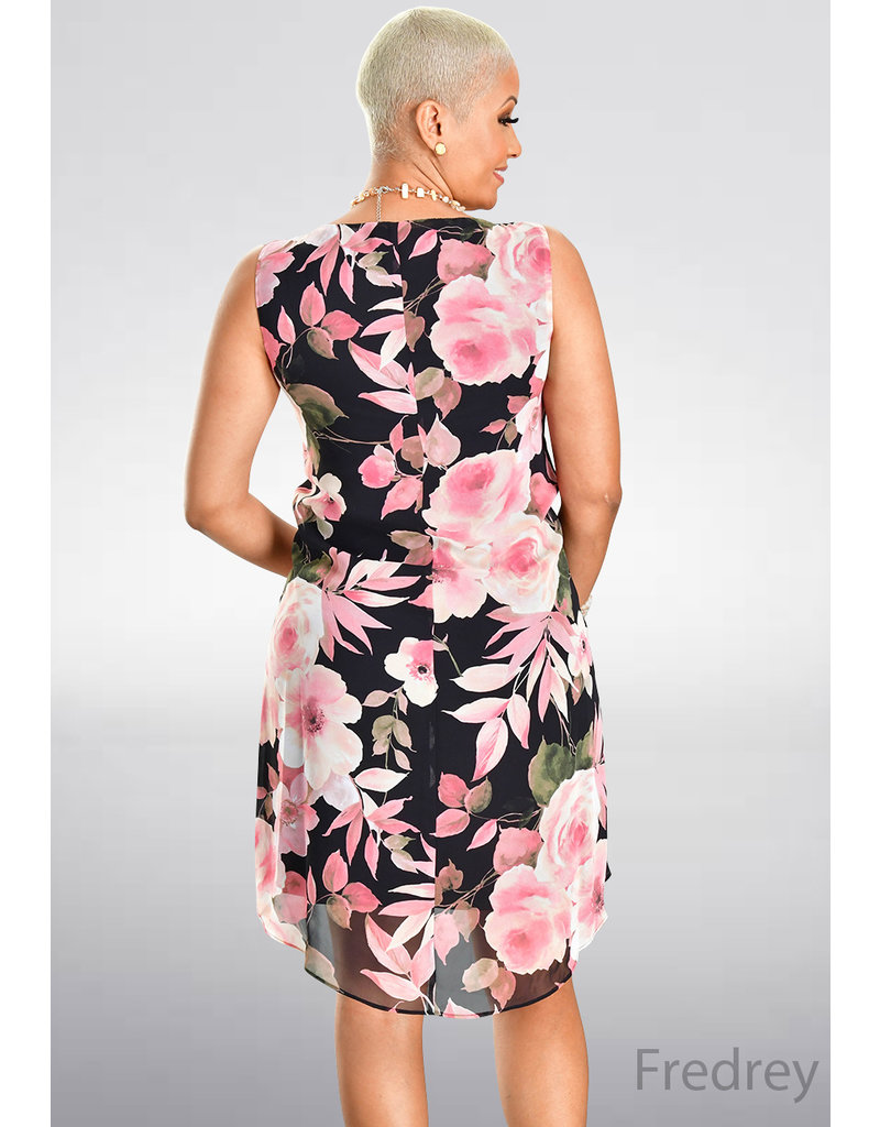 FREDREY- Sleeveless Floral Print Hi-Lo Dress