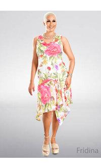 FRIDINA- Printed Cowl Dress with Handkerchief Bottom