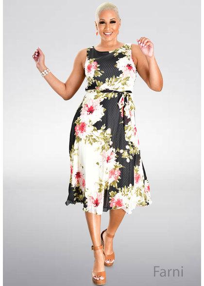 FARNI- Long Embossed Floral Print Dress