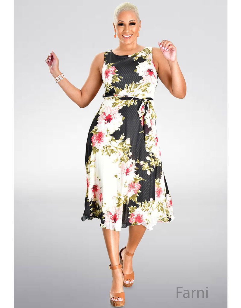 FARNI- Long Embossed Floral Print Dress