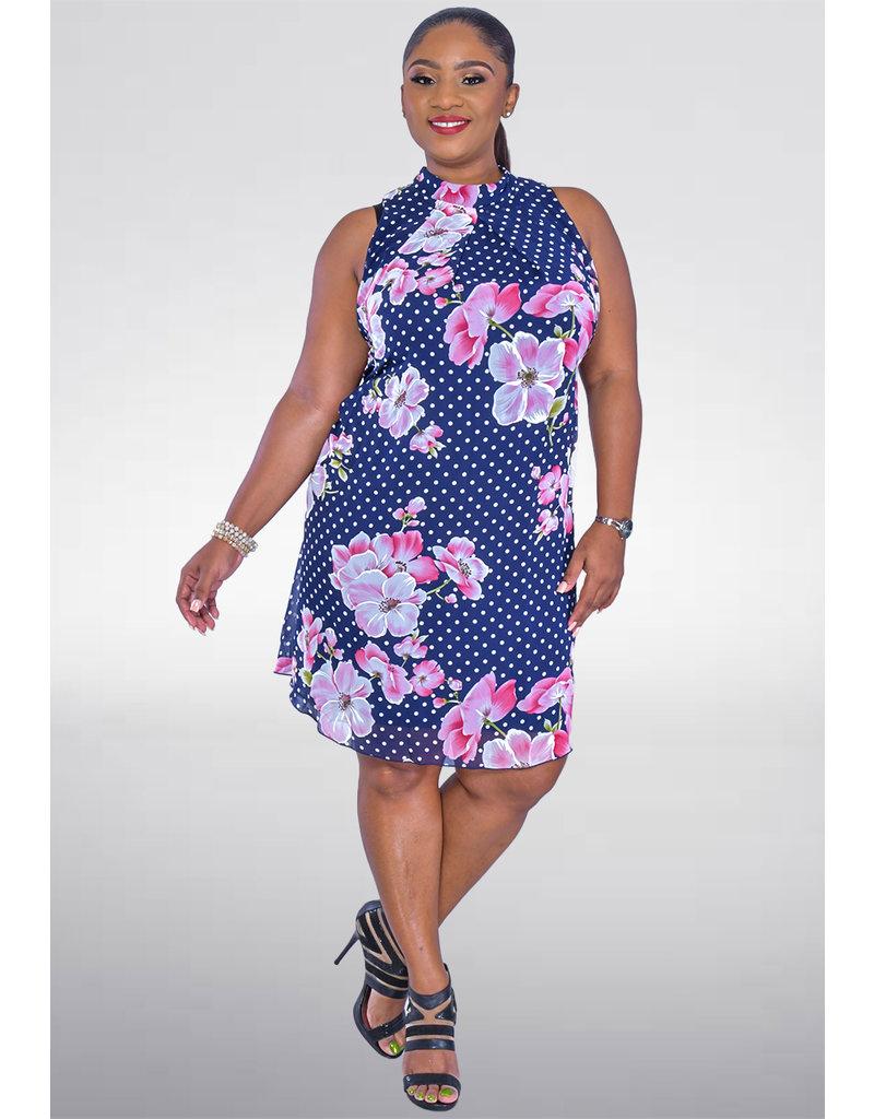 Signature FLAVIA- Floral and Polka Dot High Neckline Dress