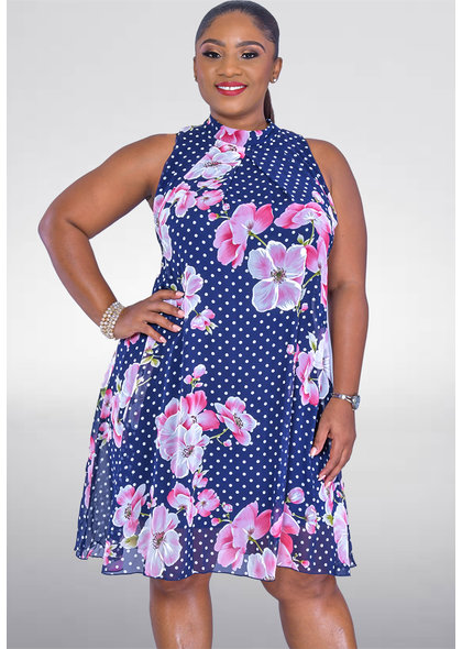 Signature FLAVIA- Floral and Polka Dot High Neckline Dress