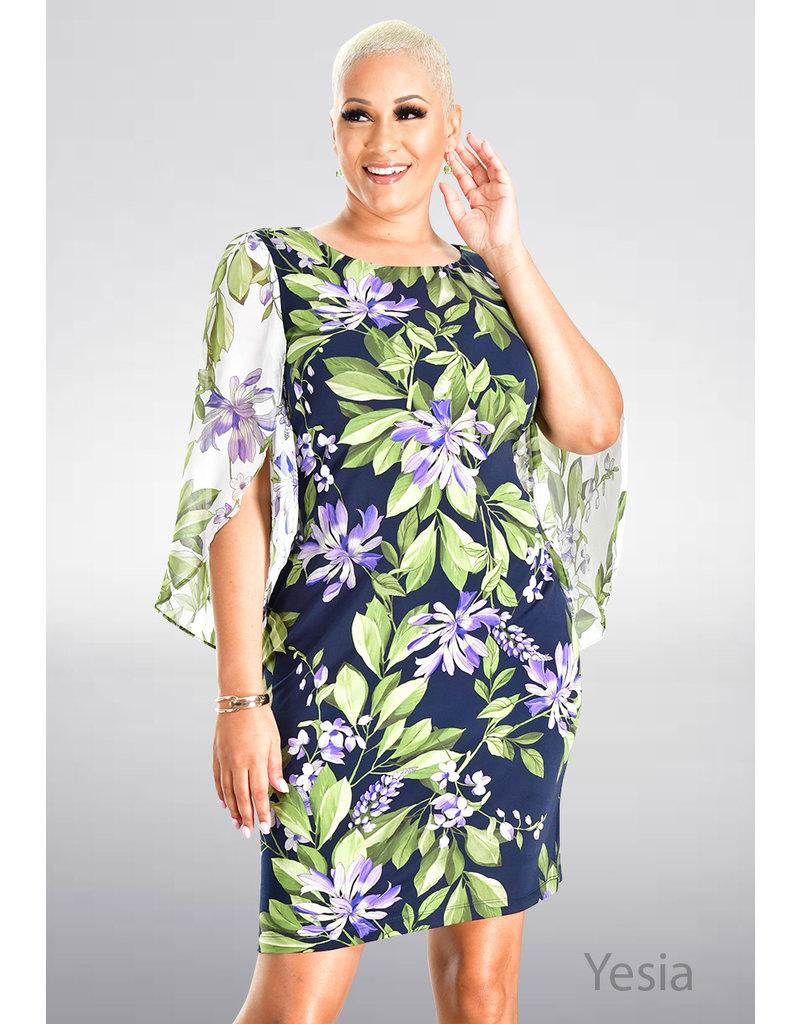 YESIA- Printed Split Kimono Sleeve Dress