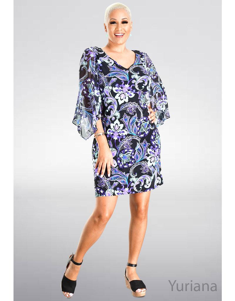 YURIANA- Printed Dress with Chiffon Sleeves