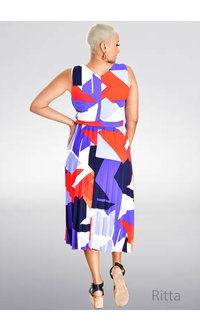 RITTA- Printed Dress with Pleats