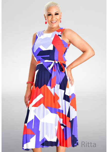RITTA- Printed Dress with Pleats