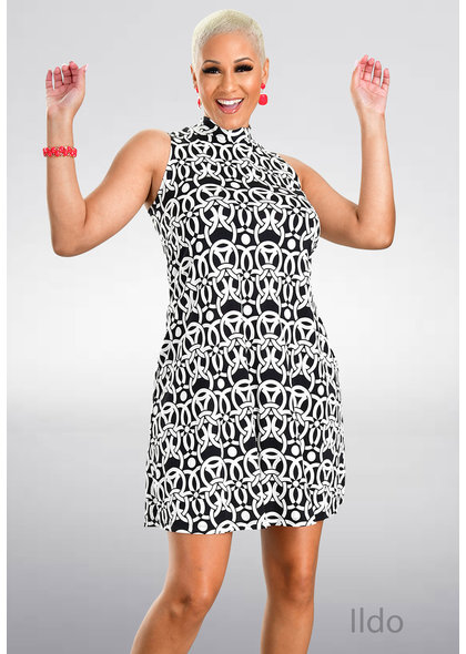 Signature ILDO- Puff Print Mock neck Dress
