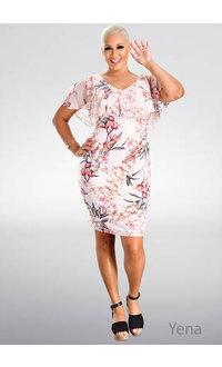 YENA- V-Neck Floral Print Caplet Dress